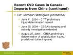 recent cvd cases in canada imports from china continued