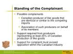 standing of the complainant