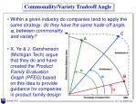 commonality variety tradeoff angle