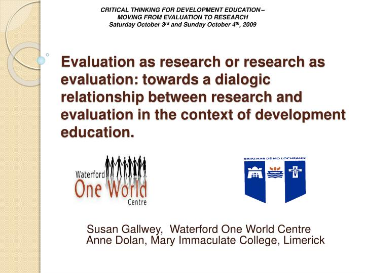 susan gallwey waterford one world centre anne dolan mary immaculate college limerick n.