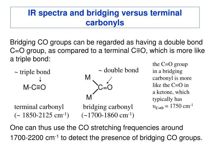 IR spectra and bridging versus terminal carbonyls