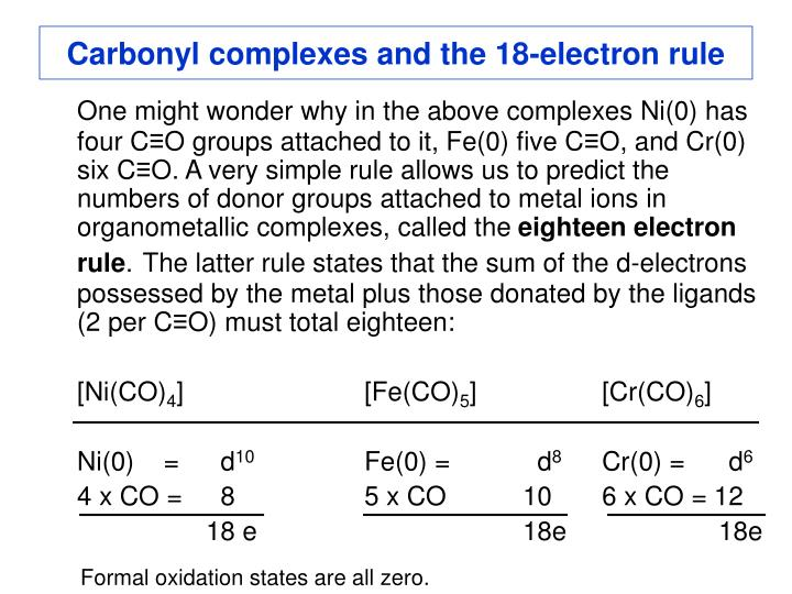 Carbonyl complexes and the 18-electron rule