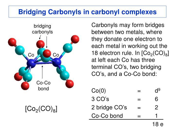 Bridging Carbonyls in carbonyl complexes
