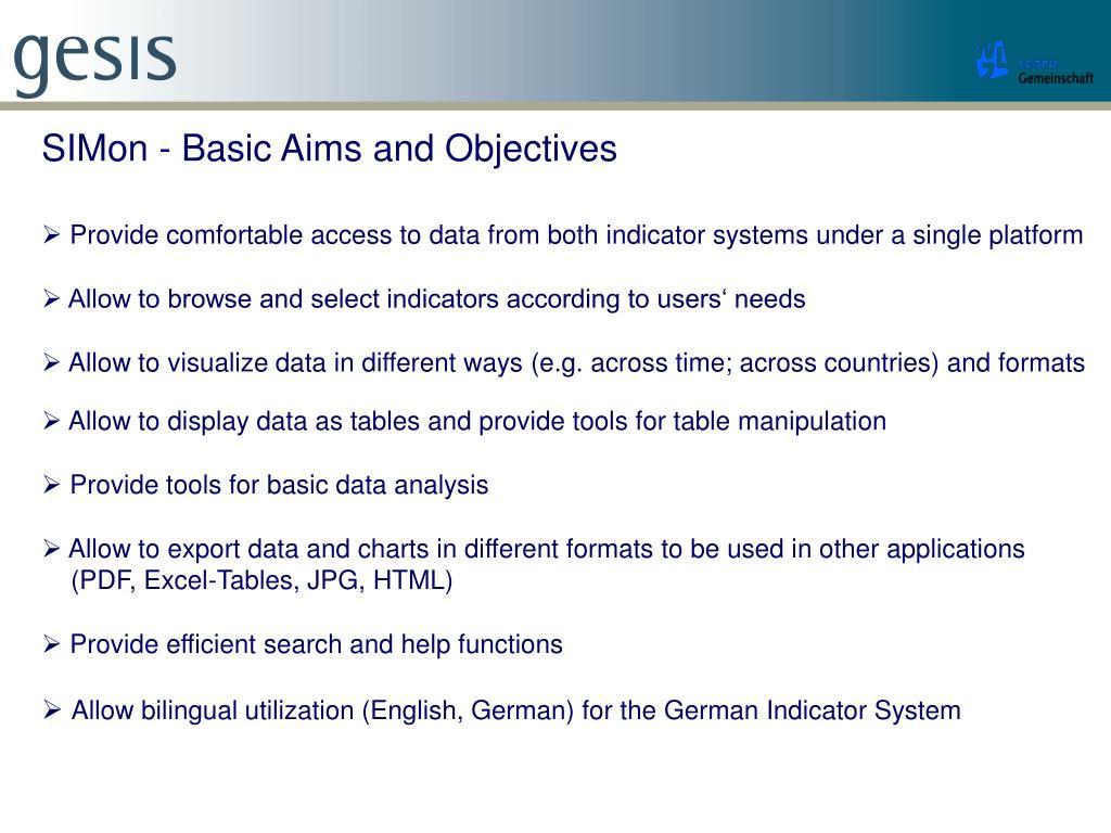 SIMon - Basic Aims and Objectives