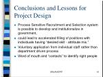 conclusions and lessons for project design