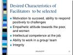 desired characteristics of facilitators to be selected