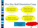 five day staff orientation camp