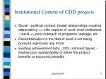 institutional context of cdd projects