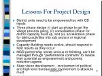 lessons for project design