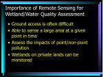 importance of remote sensing for wetland water quality assessment