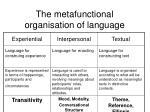 the metafunctional organisation of language