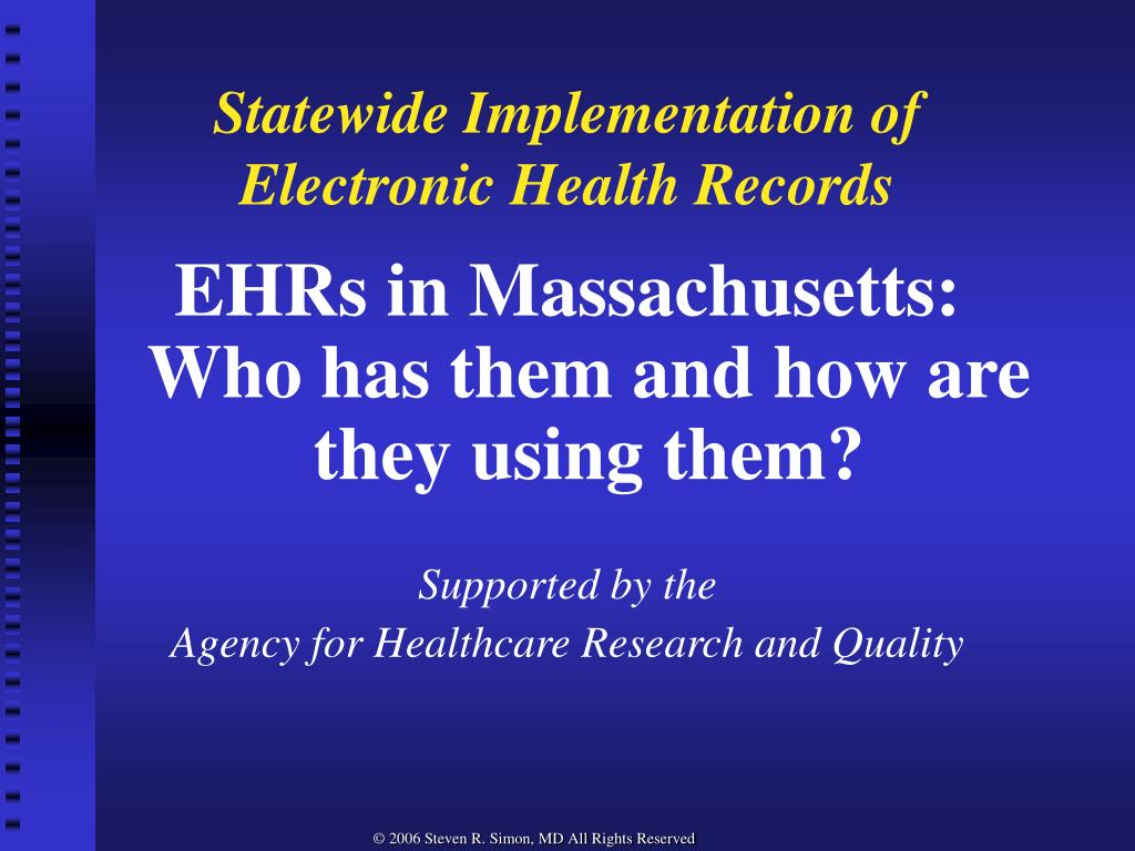 statewide implementation of electronic health records l.