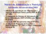 n cleo de alimenta o e nutri o atividades desenvolvidas 20031