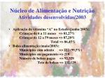 n cleo de alimenta o e nutri o atividades desenvolvidas 20033