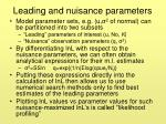 leading and nuisance parameters