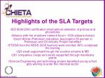 highlights of the sla targets