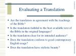 evaluating a translation