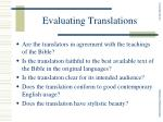 evaluating translations