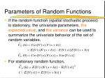 parameters of random functions