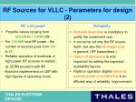 rf sources for vllc parameters for design 2
