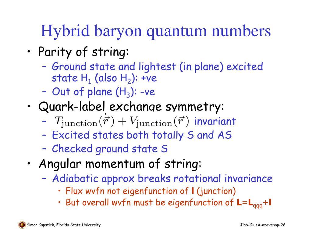 Hybrid baryon quantum numbers