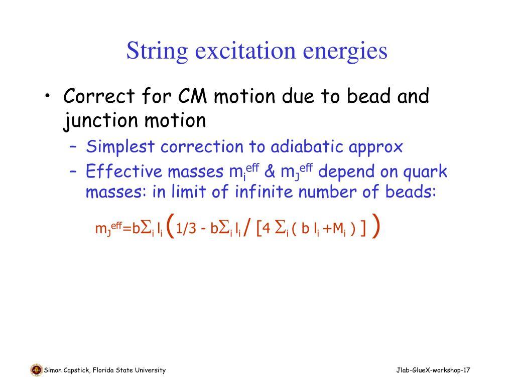 String excitation energies