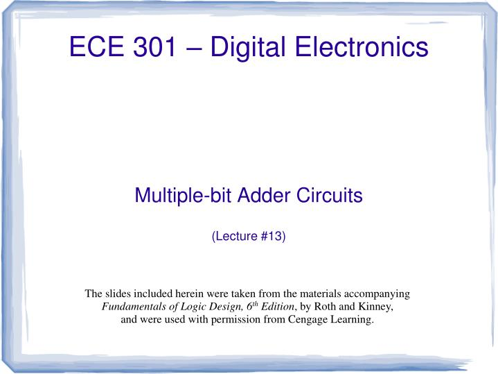 multiple bit adder circuits lecture 13 n.