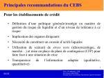 principales recommandations du cebs