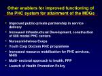 other enablers for improved functioning of the phc system for attainment of the mdgs