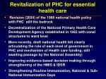 revitalization of phc for essential health care