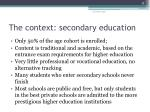 the context secondary education