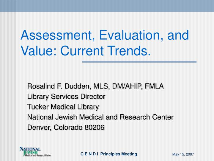 assessment evaluation and value current trends n.