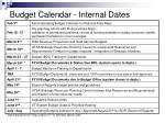 budget calendar internal dates