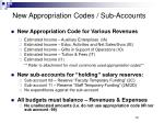 new appropriation codes sub accounts