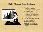 make data driven decisions