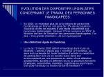 evolution des dispositifs legislatifs concernant le travail des personnes handicapees