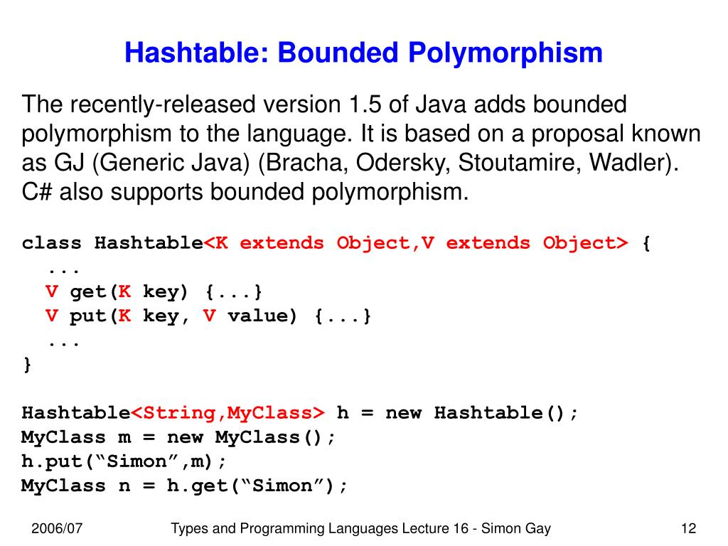 Hashtable: Bounded Polymorphism