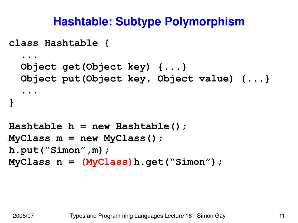 Hashtable: Subtype Polymorphism