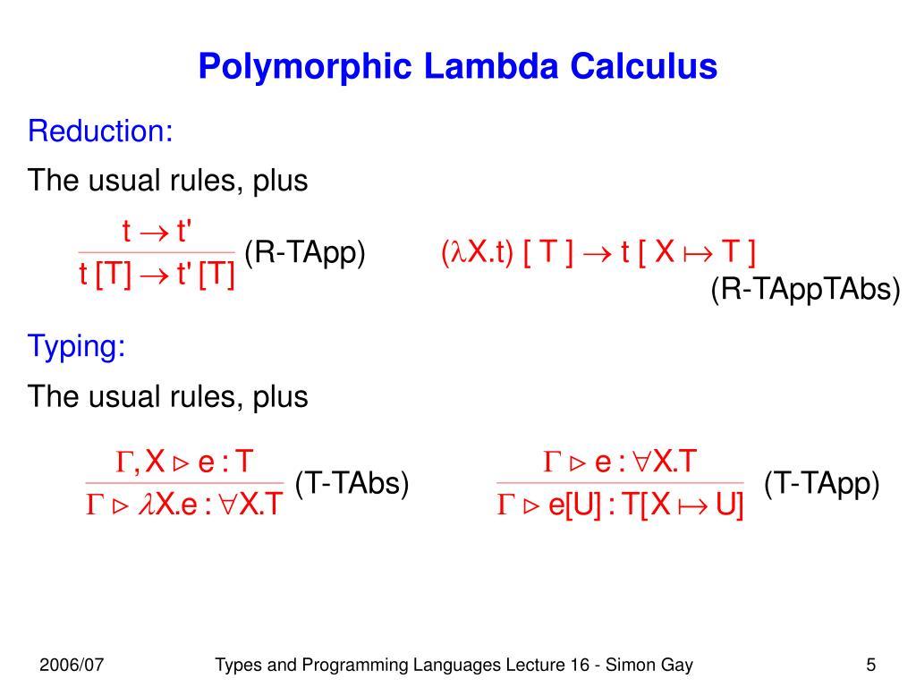 Polymorphic Lambda Calculus