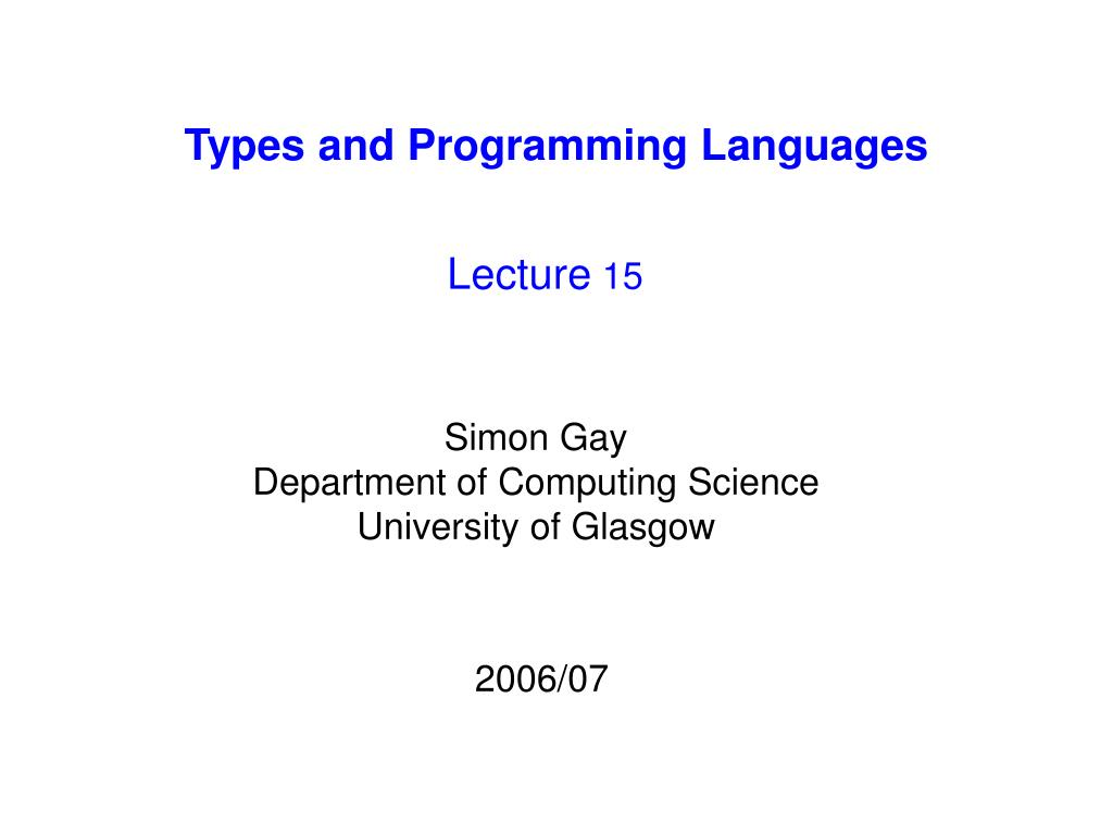 types and programming languages l.