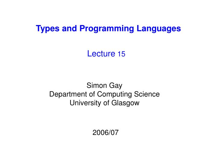 Types and programming languages