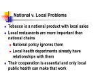 national v local problems