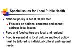 special issues for local public health
