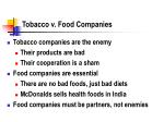 tobacco v food companies