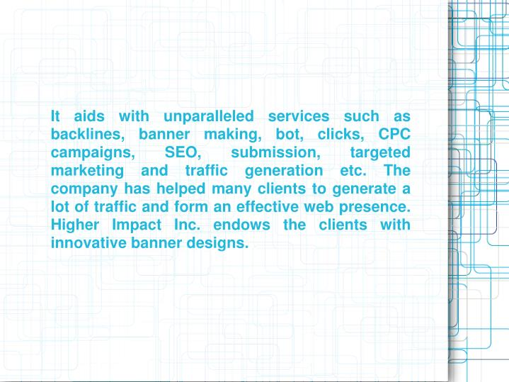 It aids with unparalleled services such as backlines, banner making, bot, clicks, CPC campaigns, SEO...