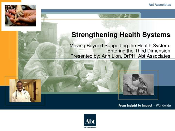 strengthening health systems n.