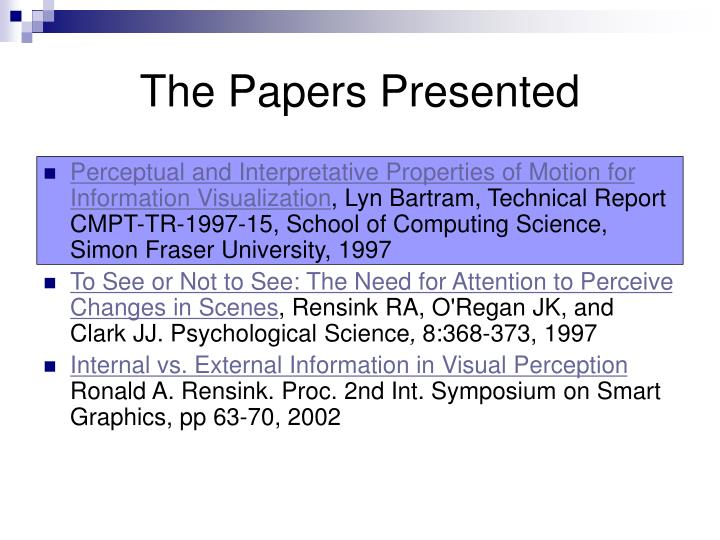 The papers presented3