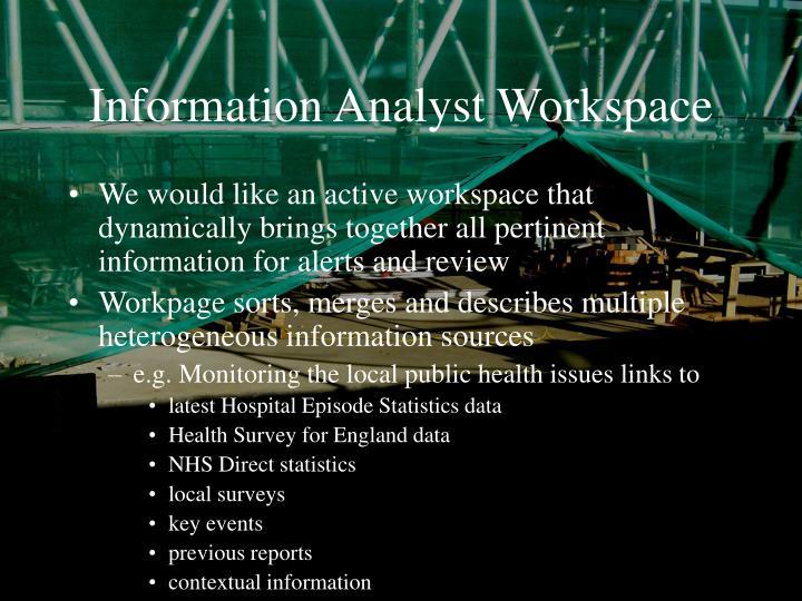 Information analyst workspace