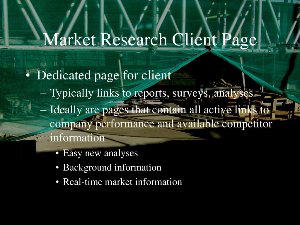 Market Research Client Page