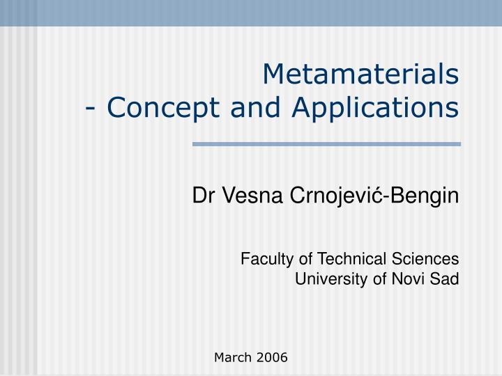 metamaterials concept and applications n.